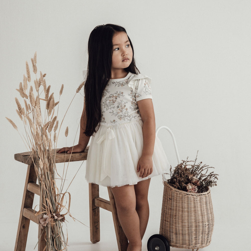 Aster & Oak Organic Cotton Girls Summer Floral Tutu Dress Party Photoshoot