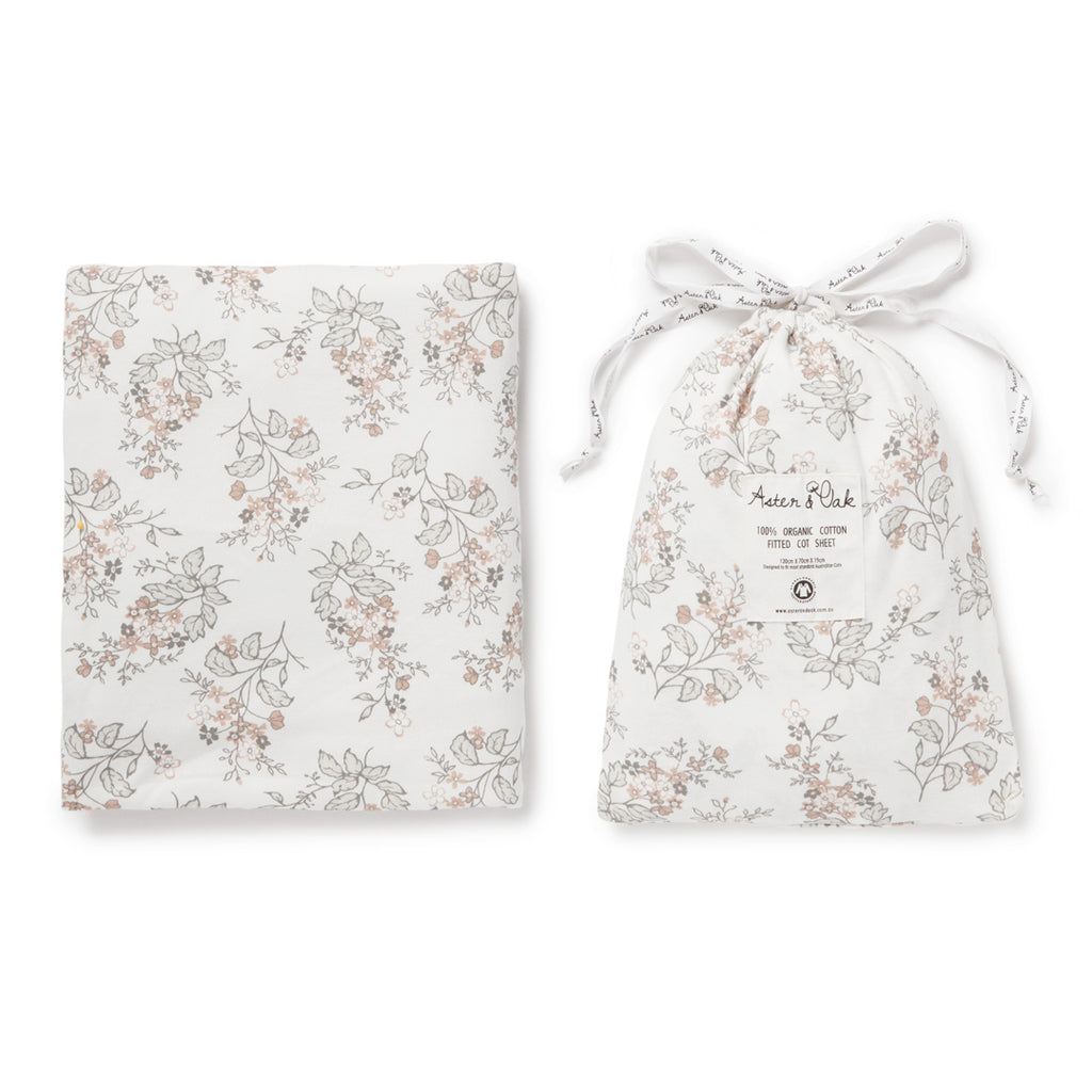 Aster & Oak Organic Cotton Girls Summer Floral Cot Sheet Flatlay