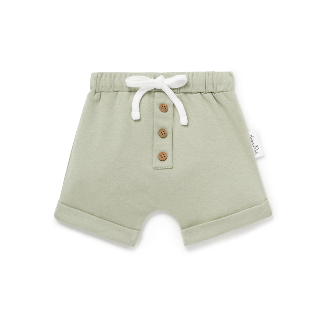 Aster & Oak Organic Sage Button Shorts Essential Gender Neutral Baby Clothes