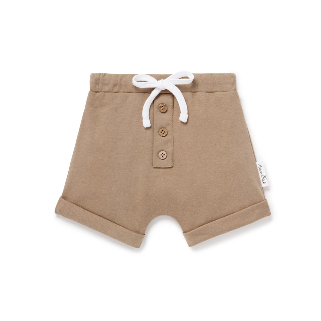 Aster & Oak Organic Cotton Clay Button Shorts Australian Made Baby Clothes