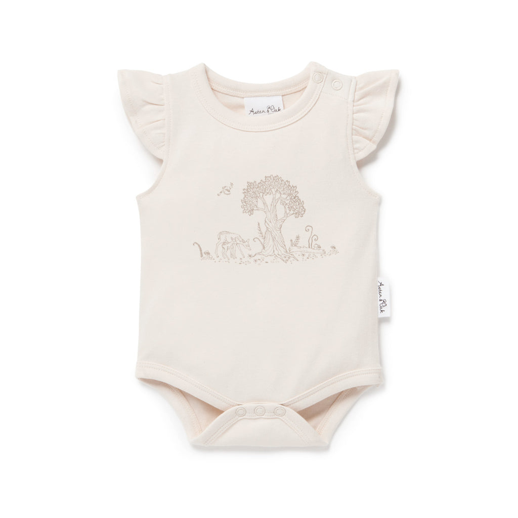 Aster & Oak Organic Cotton Girls Tree Of Life & Deer Print Onesie