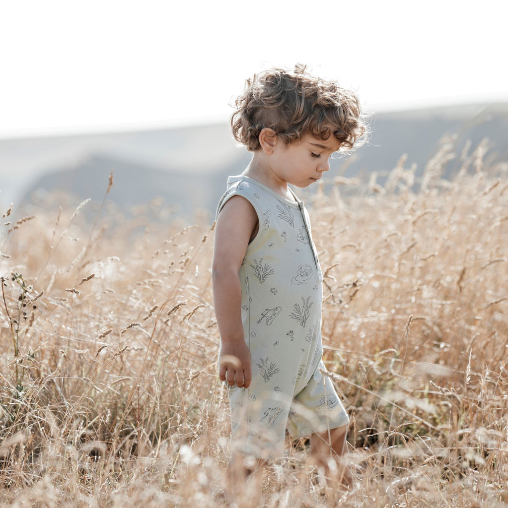 Aster & Oak Organic Cotton Frog Pond Henley Romper Sage Outdoor Photoshoot