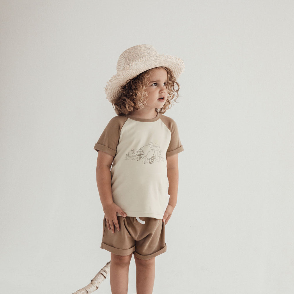 Aster & Oak Organic Cotton Clay Button Shorts Australian