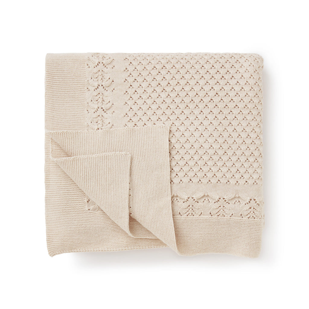 Aster & Oak Organic Cotton Oatmeal Heirloom Baby Blanket Flatlay