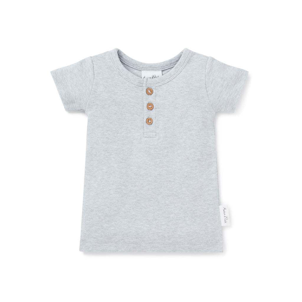 Aster & Oak Organic Cotton Grey Marle Henley Tee