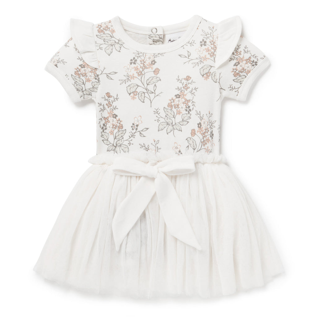 Aster & Oak Organic Cotton Girls Summer Floral Tutu Dress Party