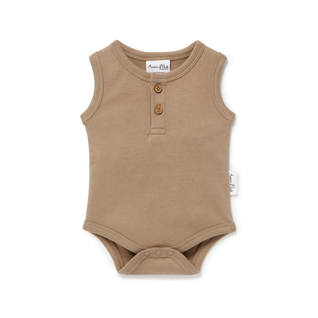 Aster & Oak Organic Cotton Baby Essentials Clay Singlet Onesie