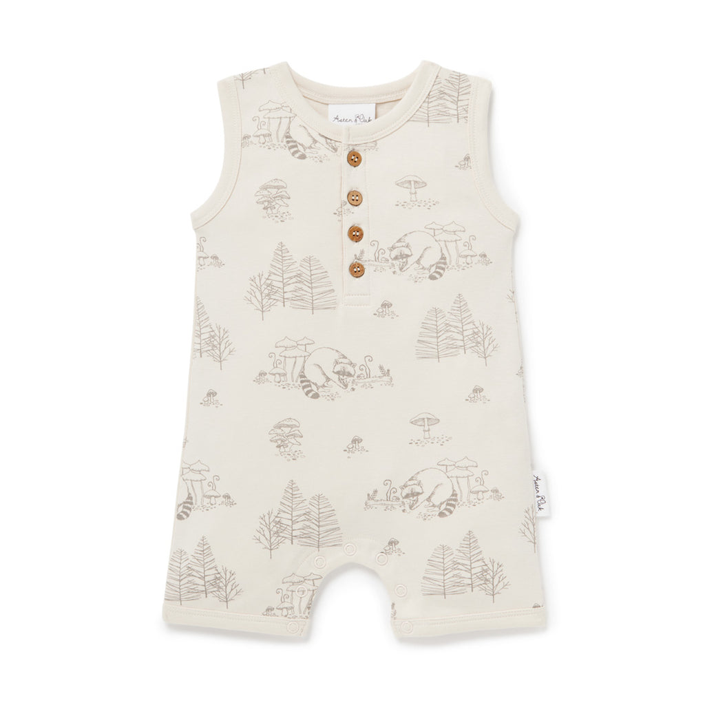 Aster & Oak Organic Cotton Raccoon Henley Romper Flatlay