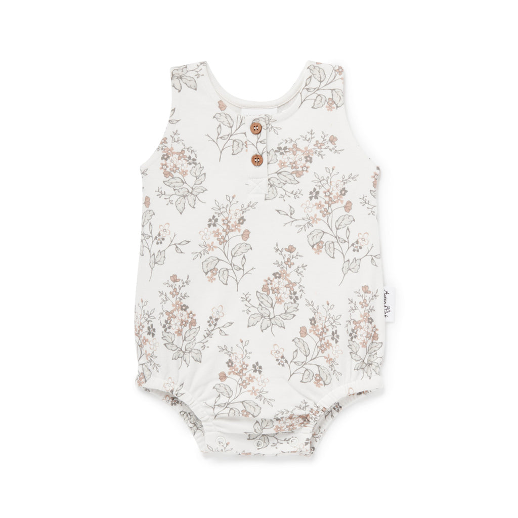 Aster & Oak Organic Cotton Girls Floral Bubble Romper Onesie Flatlay