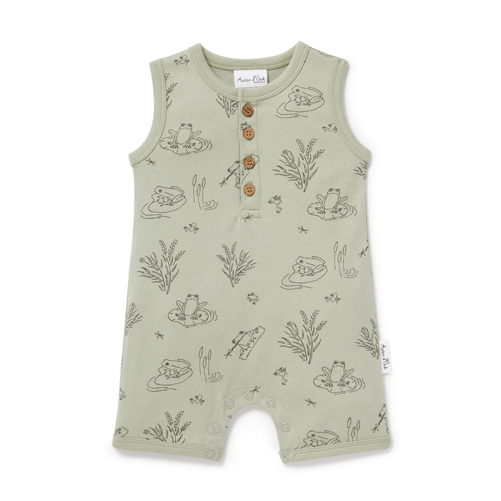 Aster & Oak Organic Cotton Frog Pond Henley Romper Sage