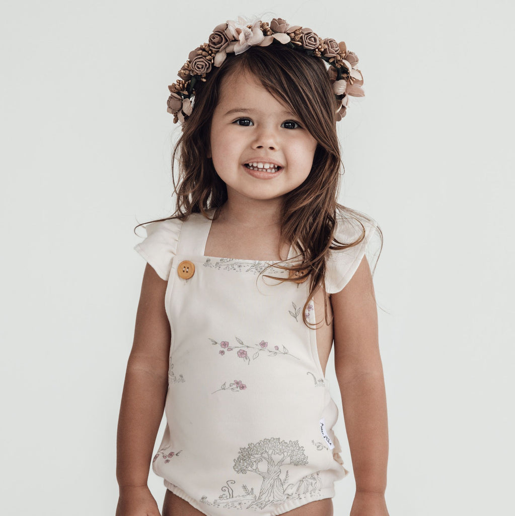 Aster & Oak Organic Girls Tree Of Life Ruffle Playsuit Close Up