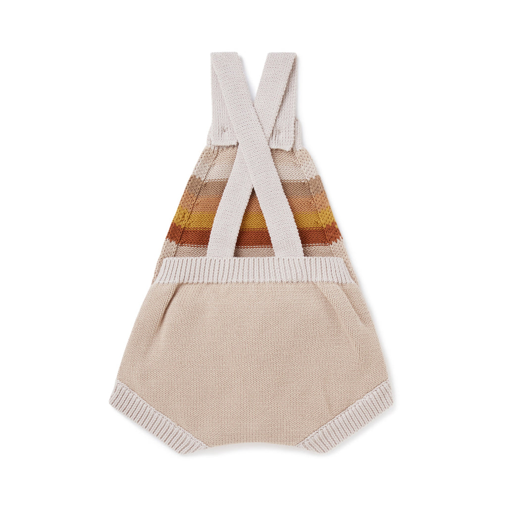 Aster & Oak Organic Cotton Neutral Rainbow Knit Romper Back View Flatlay