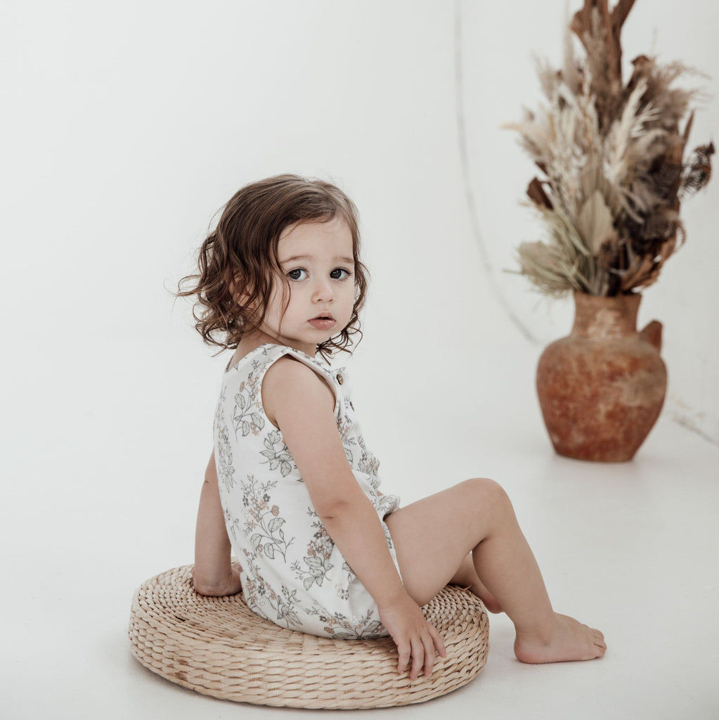 Aster & Oak Organic Cotton Girls Floral Bubble Romper Onesie Photoshoot