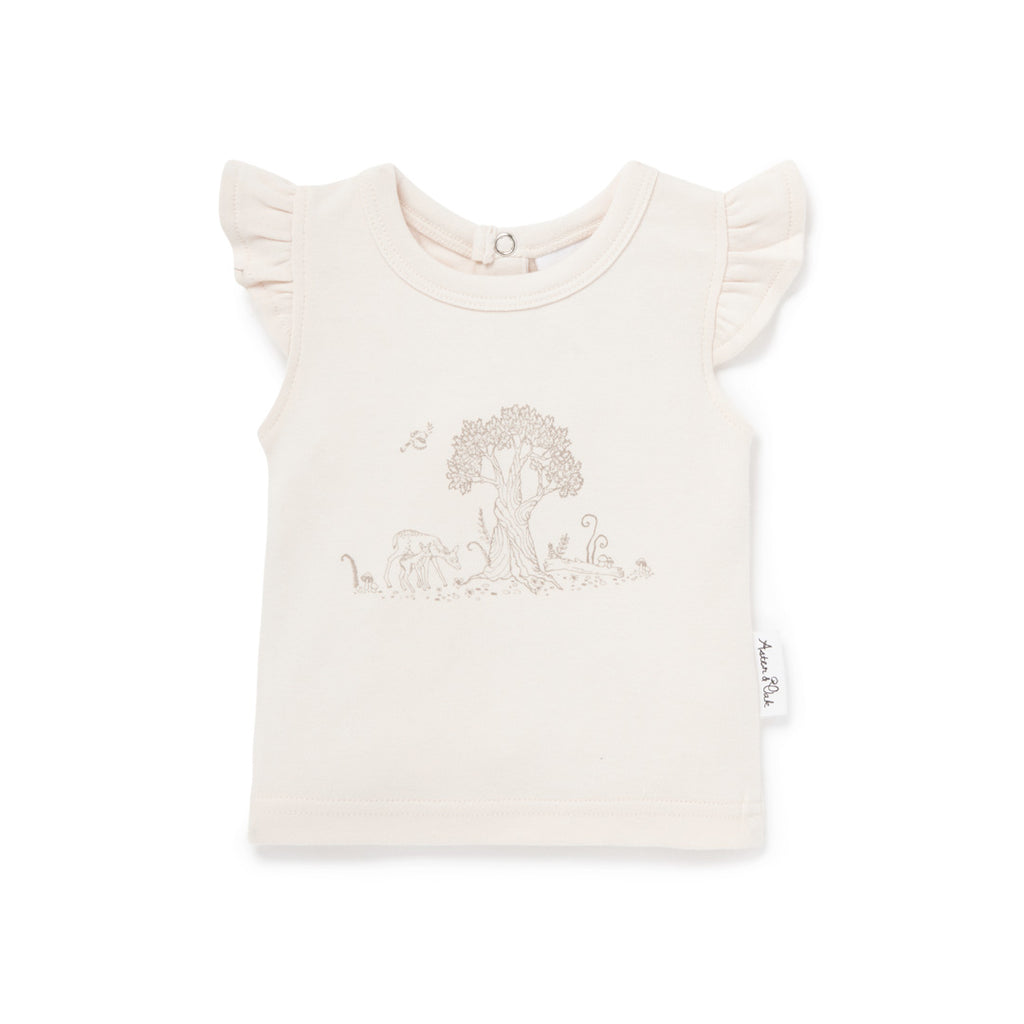 Aster & Oak Organic Cotton Girls Tree Of Life Deer Print Tee