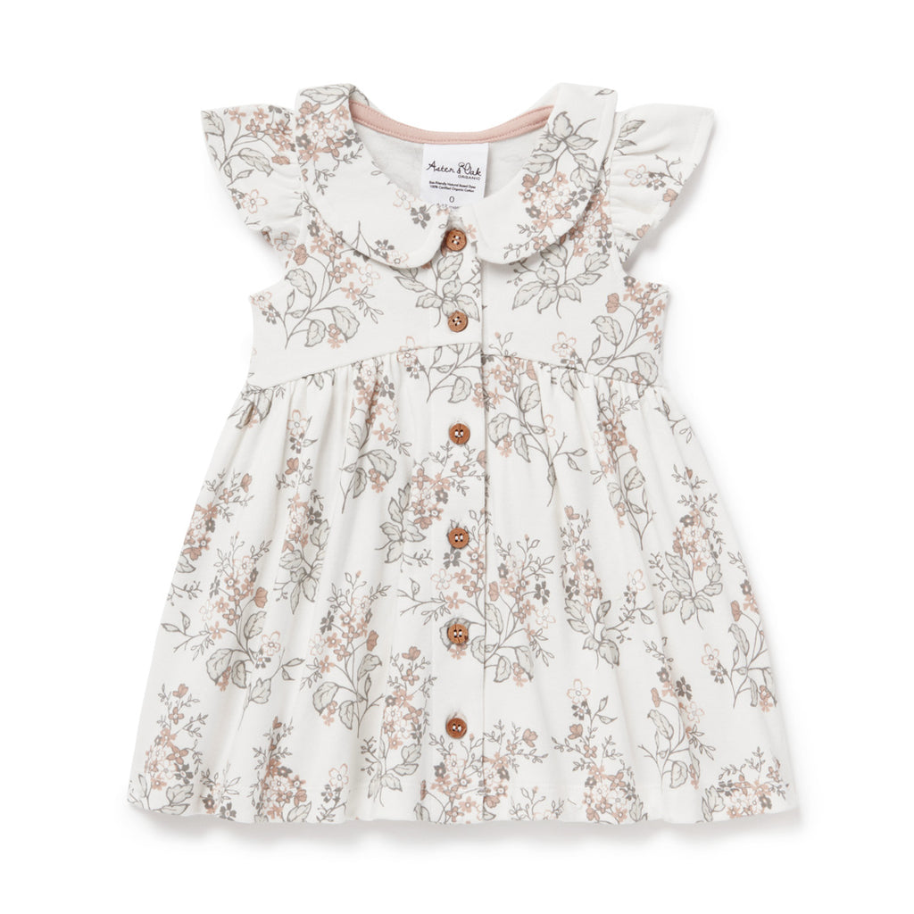 Aster & Oak Organic Girls Summer Floral Button Dress Rose