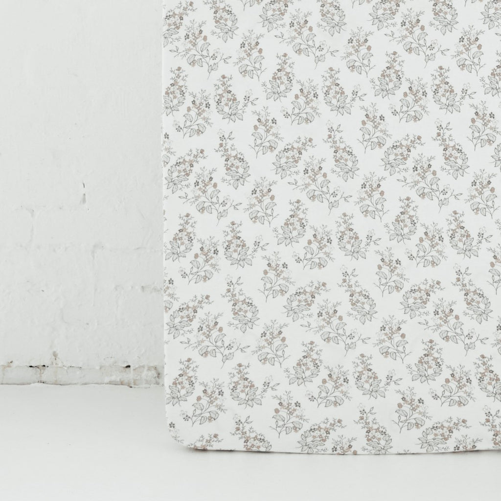 Aster & Oak Organic Cotton Girls Summer Floral Cot Sheet Close Up