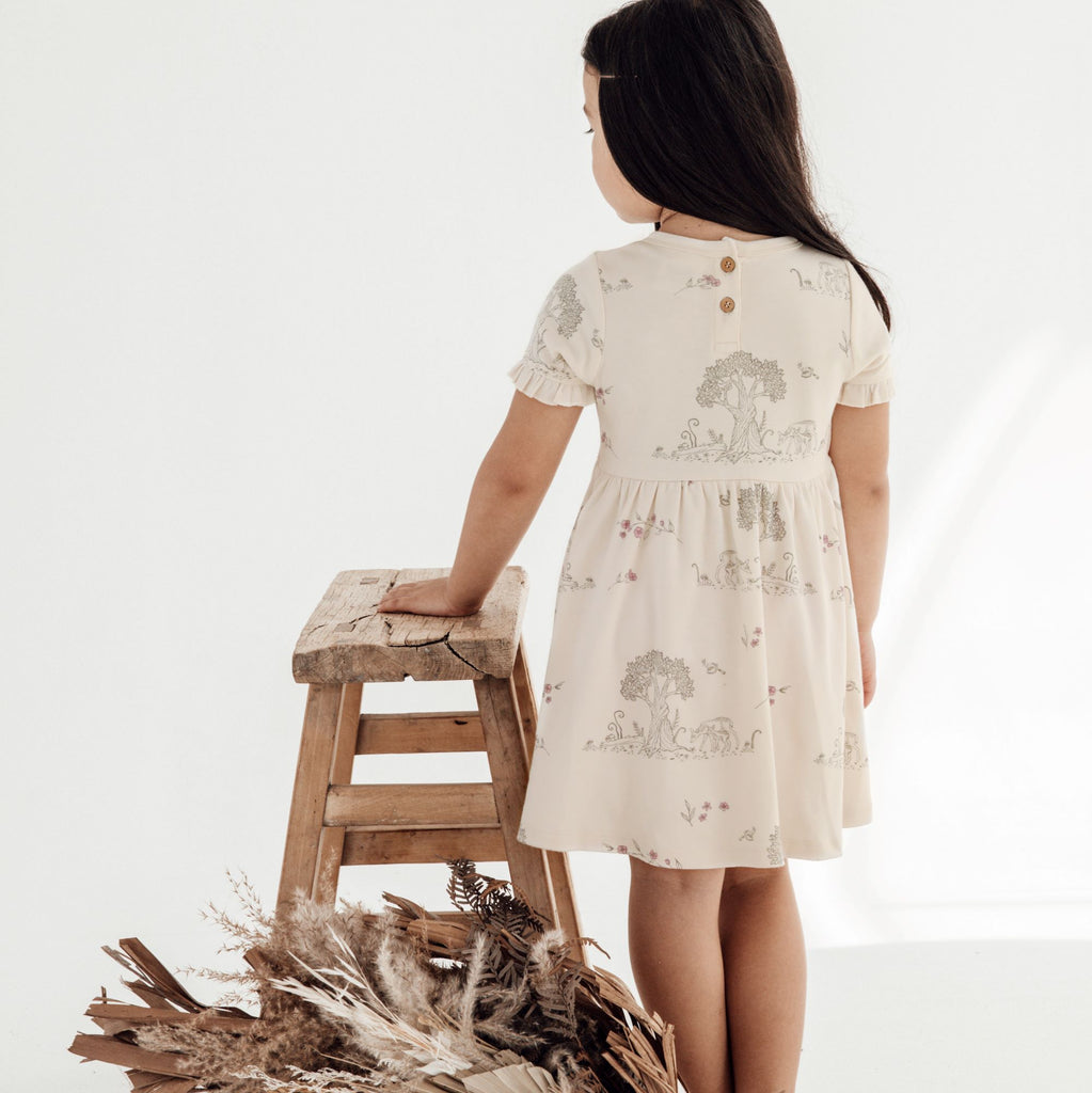Aster & Oak Organic Cotton Girls Tree Of Life & Deer Print Skater Dress Back View
