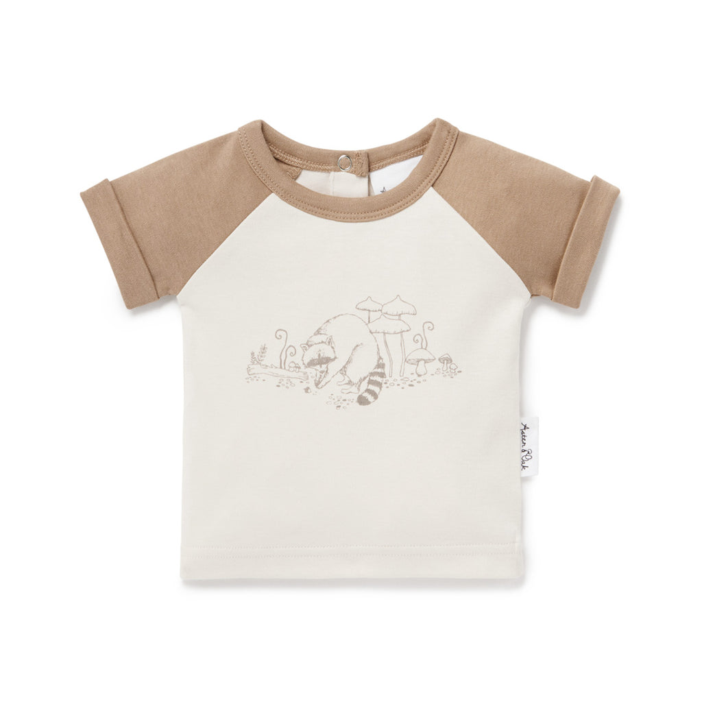 Aster & Oak Organic Cotton Raccoon Print Raglan Tee T-Shirt Natural