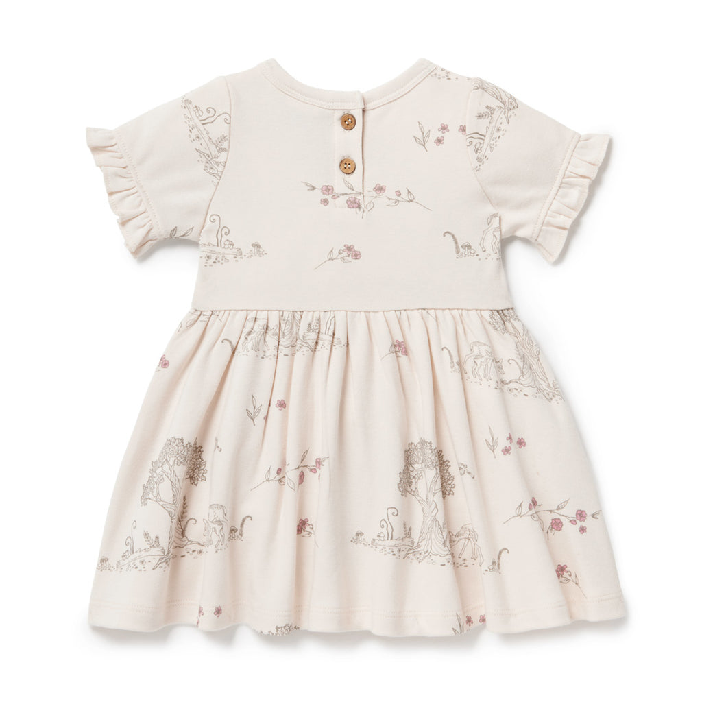 Aster & Oak Organic Cotton Girls Tree Of Life & Deer Print Skater Dress Back Flatlay