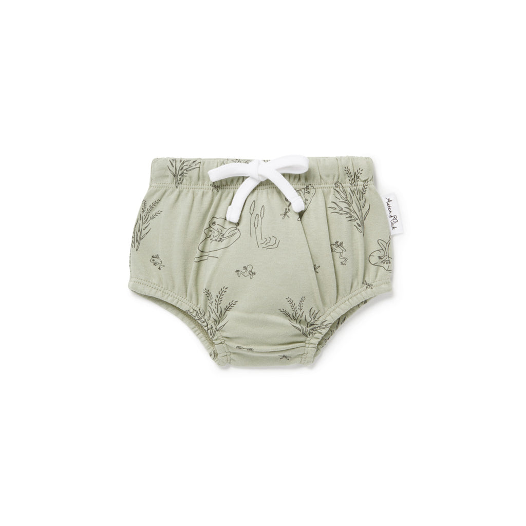 Aster & Oak Organic Cotton Frog Pond Bloomers Gender Neutral Sage Flatlay