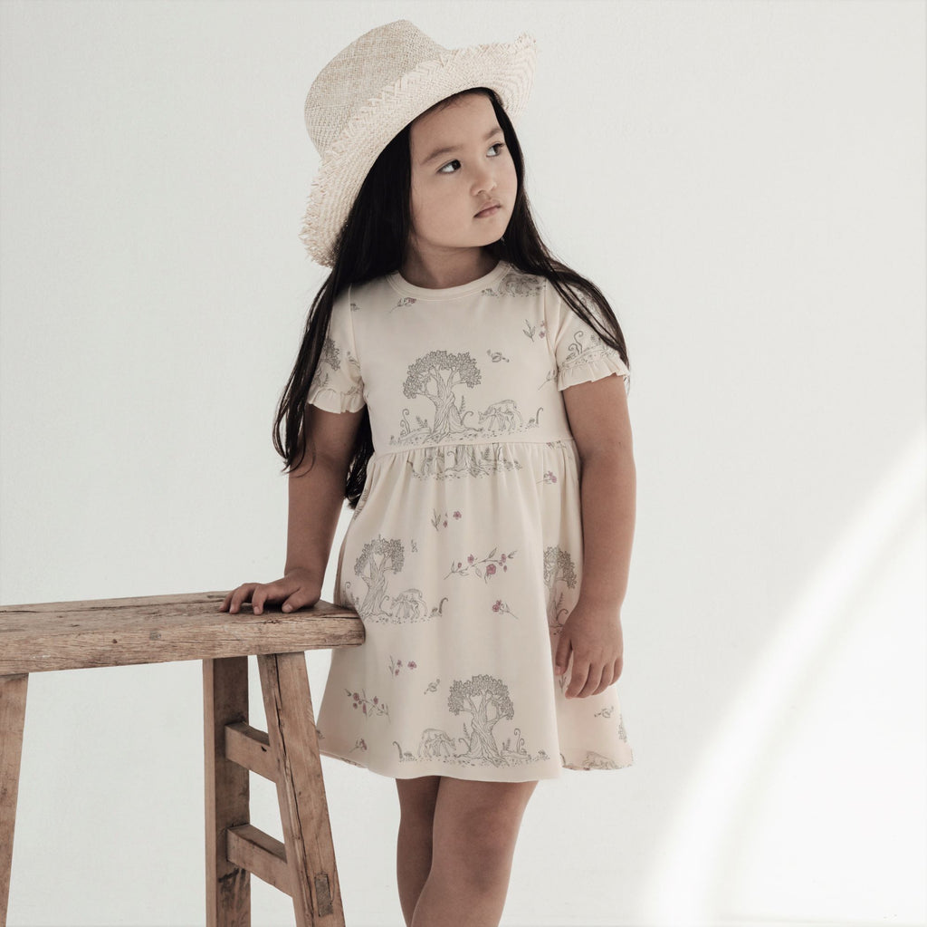 Aster & Oak Organic Cotton Girls Tree Of Life & Deer Print Skater Dress