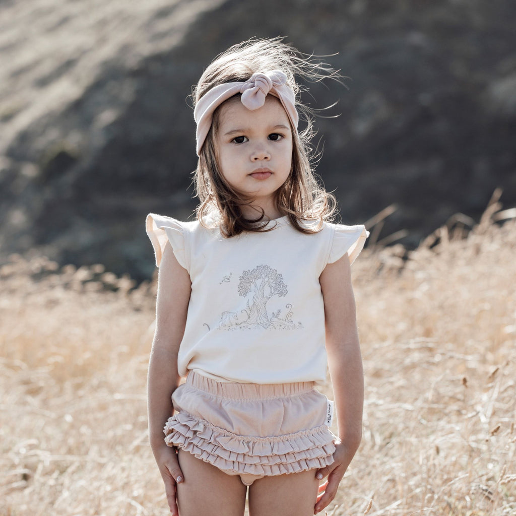 Aster & Oak Organic Cotton Girls Tree Of Life Deer Print Tee Outdoors Photoshoot