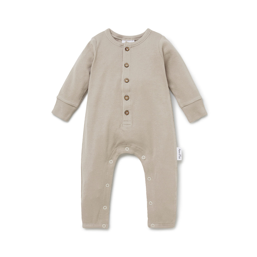 Aster & Oak Organic Stretch Baby Boys Stone Rib Button Romper