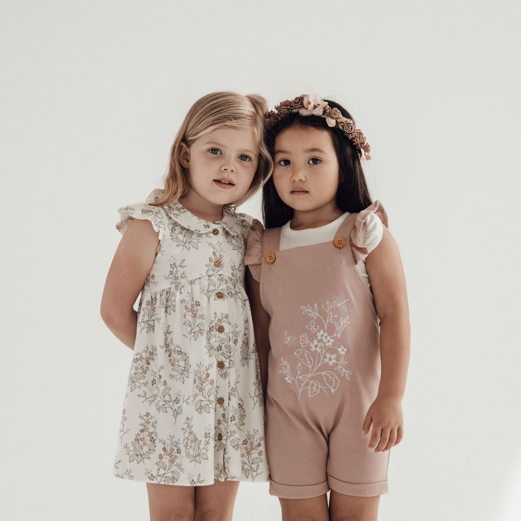 Aster & Oak Organic Girls Floral Embroidered Overalls Summer Outfit