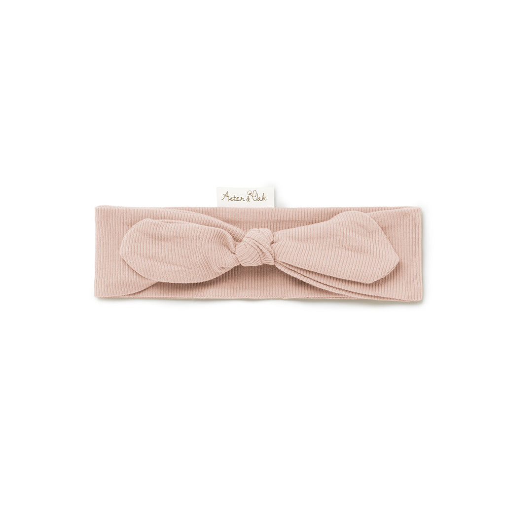 Aster & Oak Baby Girls Topknot Cameo Rose Rib Headband