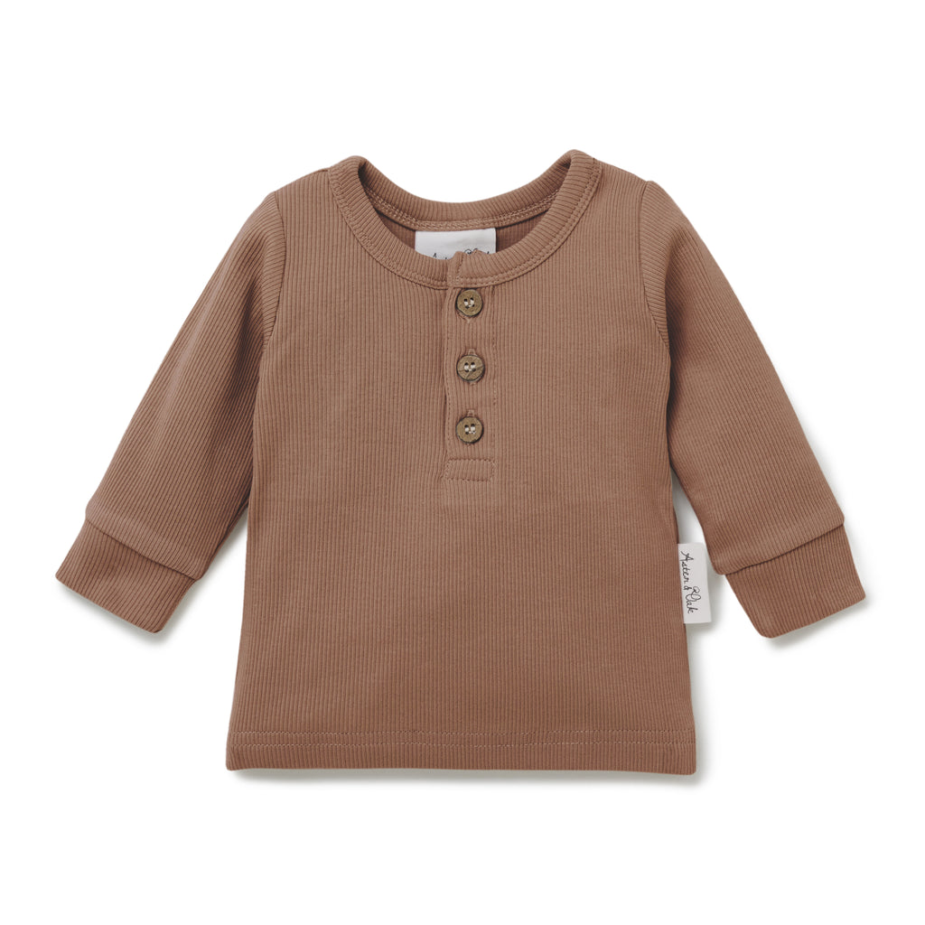 Aster & Oak Organic Rib Cocoa Henley Tee Boys Long Sleeve Top