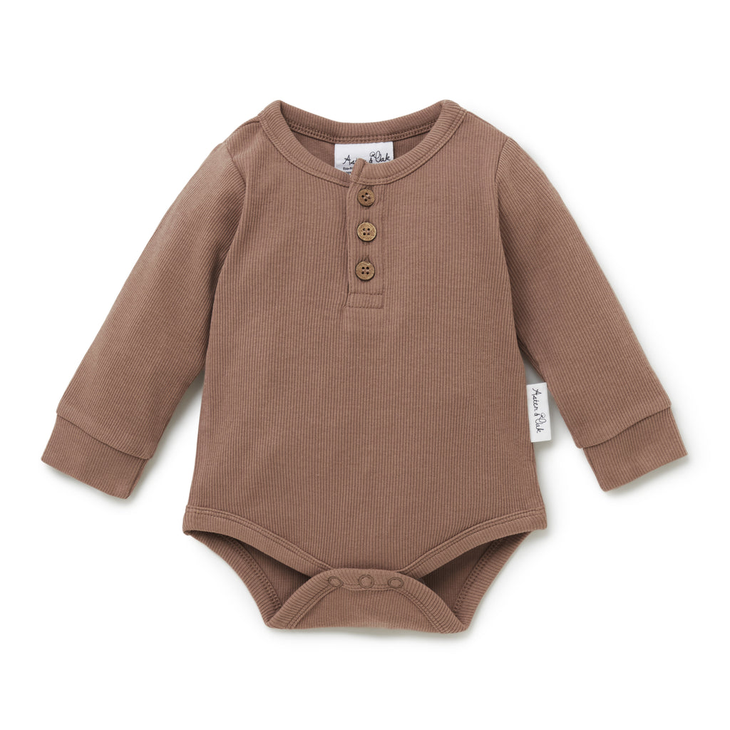 Aster & Oak Baby Boys Organic Brown Ribbed Bodysuit Cocoa Rib Henley Onesie Natural