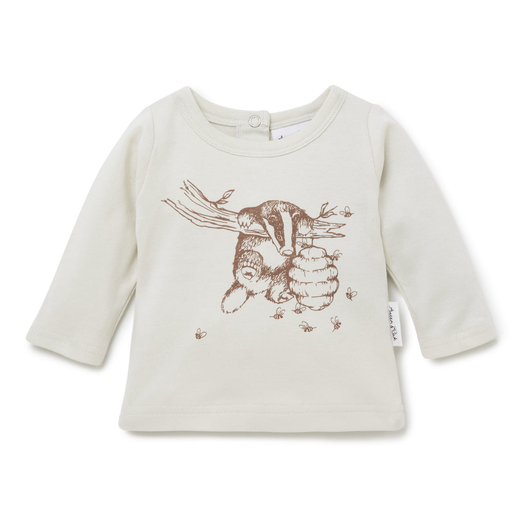 Aster & Oak Organic Cotton Badger Print Tee Top Long Sleeve