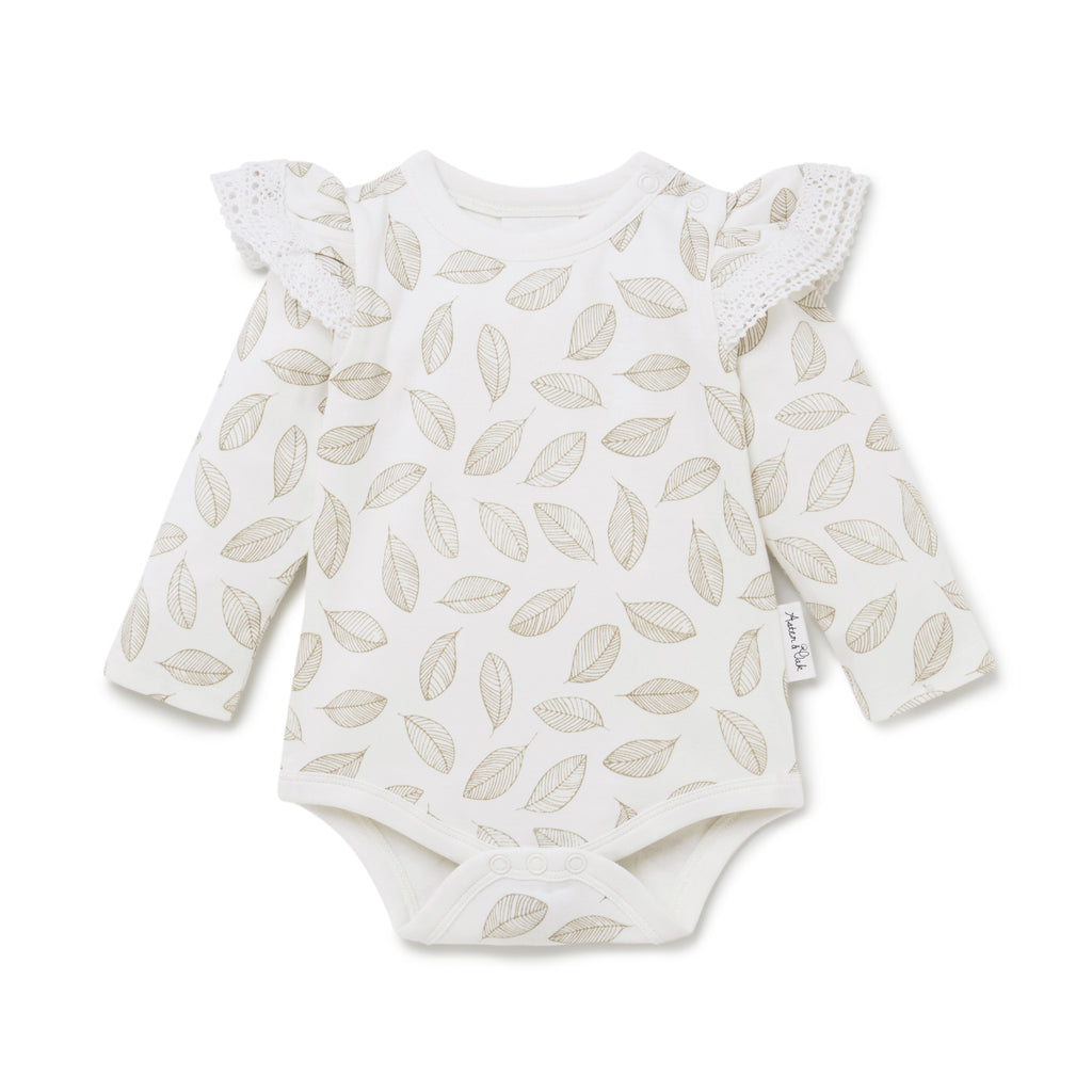 Aster & Oak Girls Lace Cotton Leaf Drop AOP Onesie