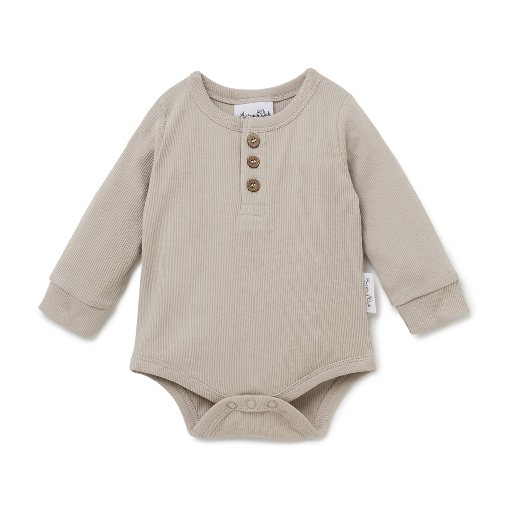 Aster & Oak Gender Neutral Beige Stone Rib Henley Onesie Baby Bodysuit