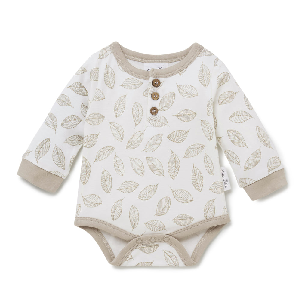 Aster & Oak Organic Cotton Neutral Leaf Drop Henley Onesie