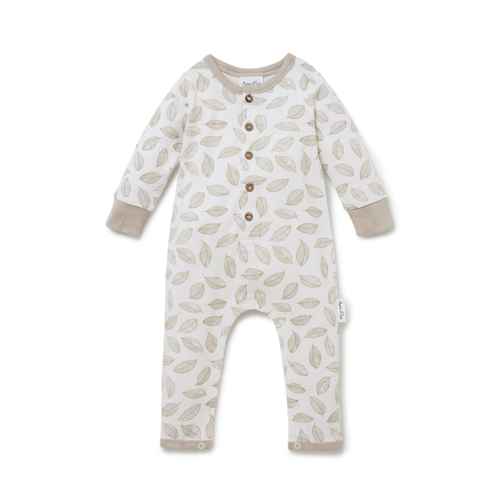 Aster & Oak Neutral Baby Onesie Leaf Drop Button Romper