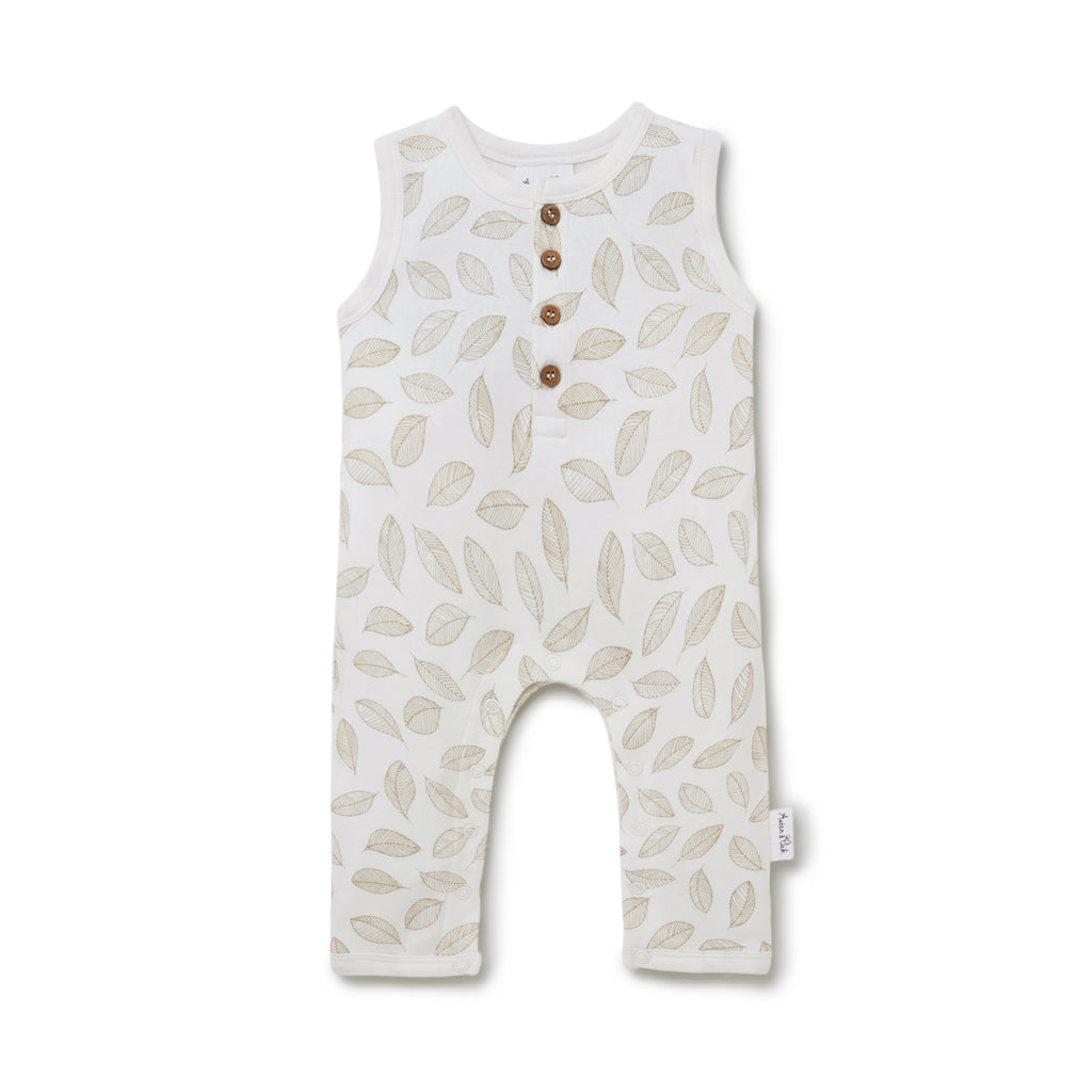 Aster & Oak Unisex Baby Clothes Leaf Drop Henley Romper Flatlay