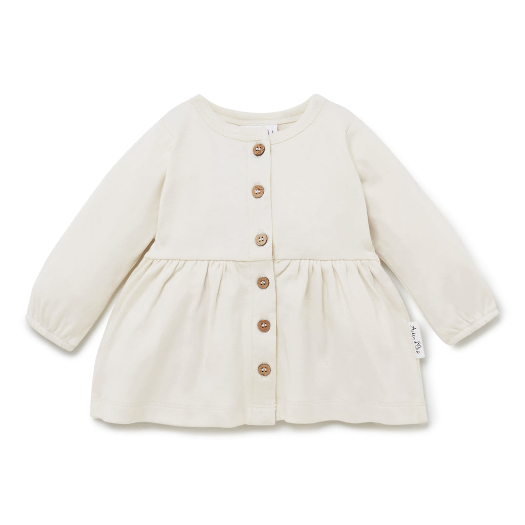 Aster & Oak Girls Organic White Pristine Button Blouse Cotton Flatlay