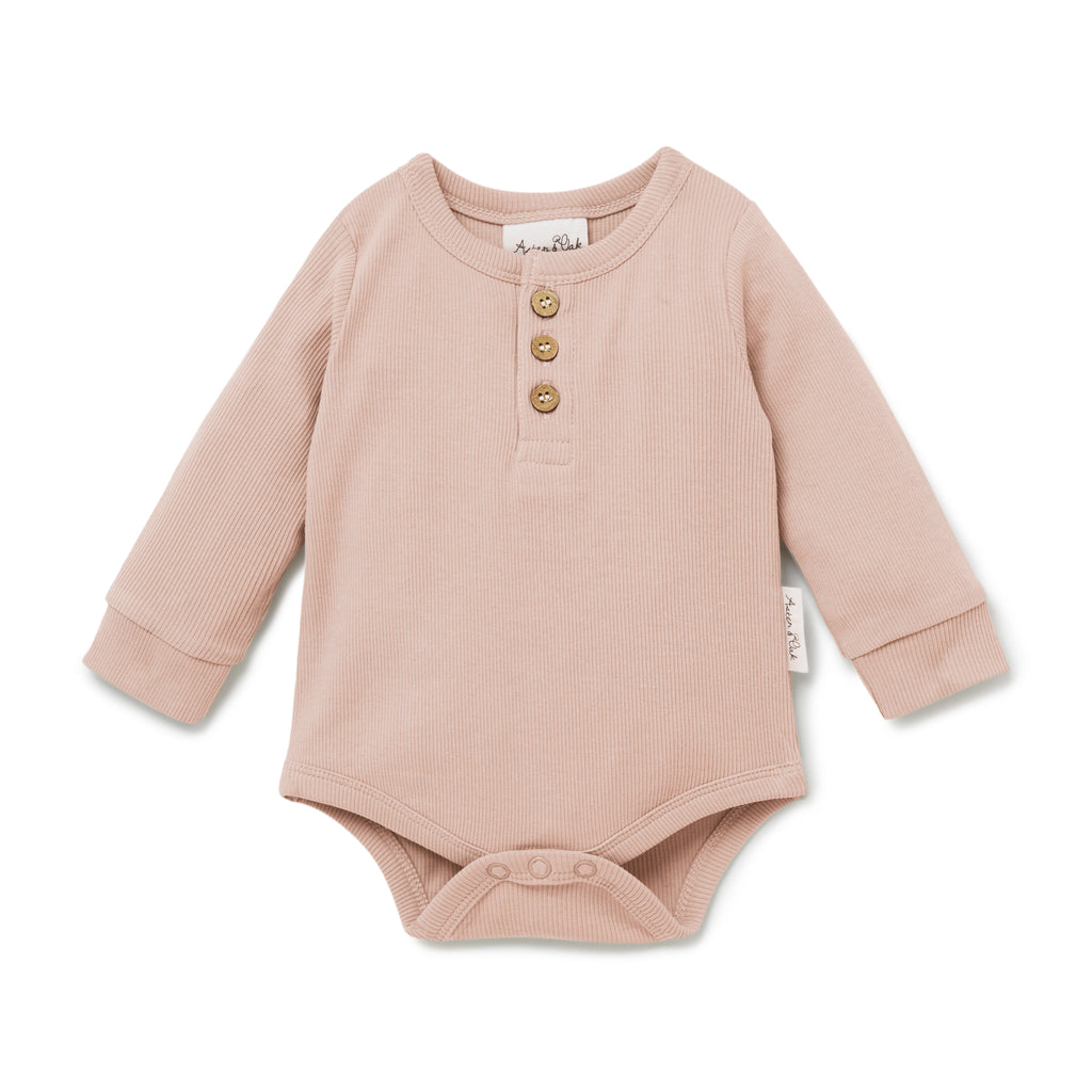 Aster & Oak Organic Girls Pink Cameo Rose Henley Onesie