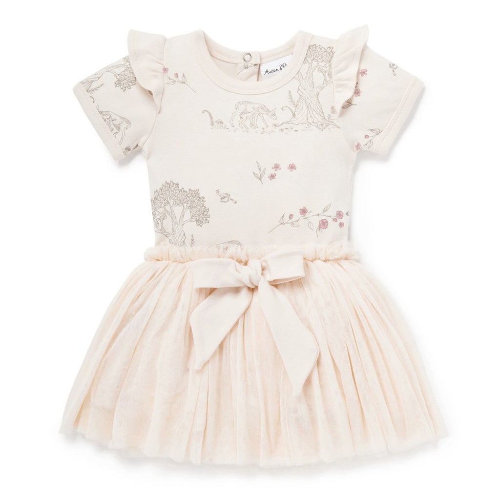 Aster & Oak Organic Girls Tree Of Life & Deer Print Tutu Dress