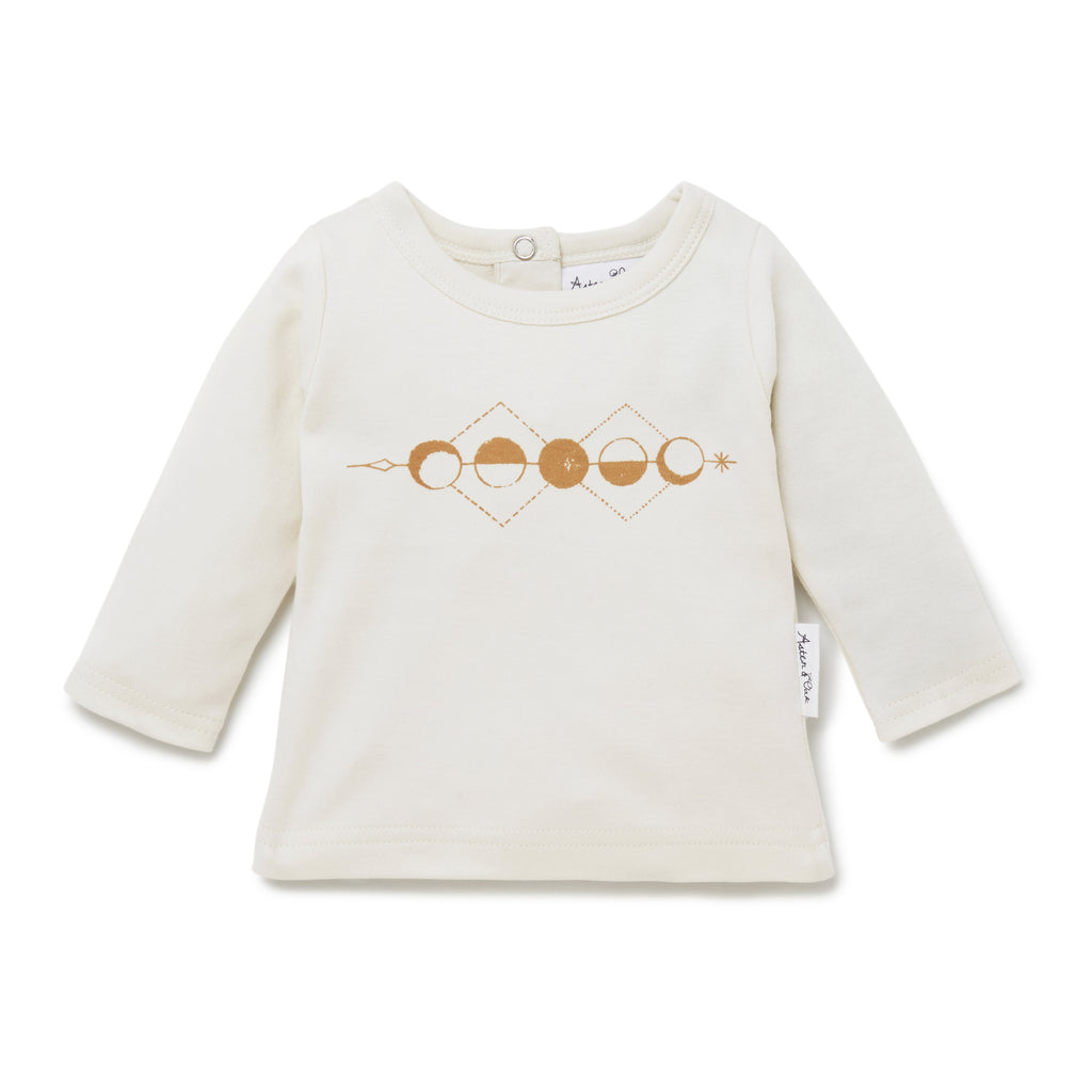 Aster & Oak Baby Boho Long Sleeve Moon Phase Print Tee