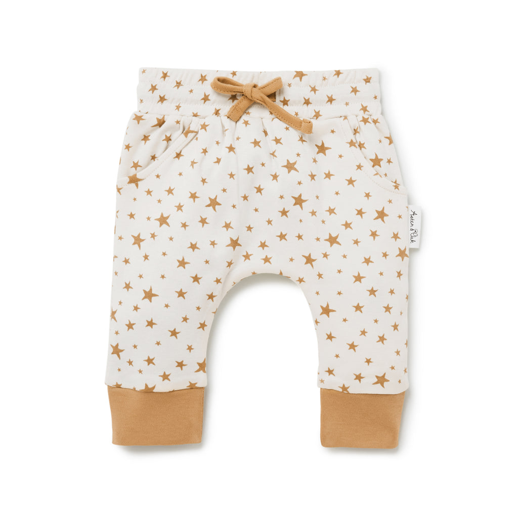 Aster & Oak Organic Neutral Boho Taffy Star Harem Pants