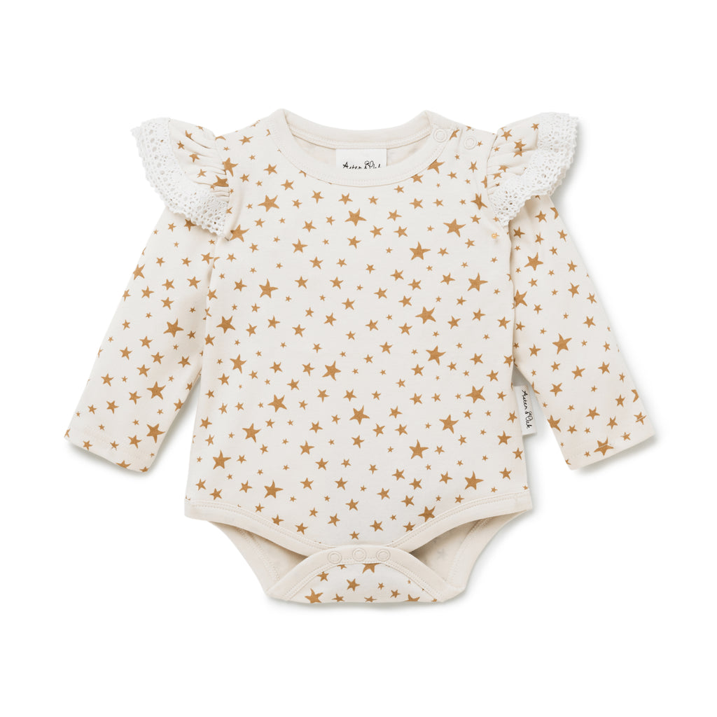 Aster & Oak Organic Lace Girls Taffy Star AOP Onesie
