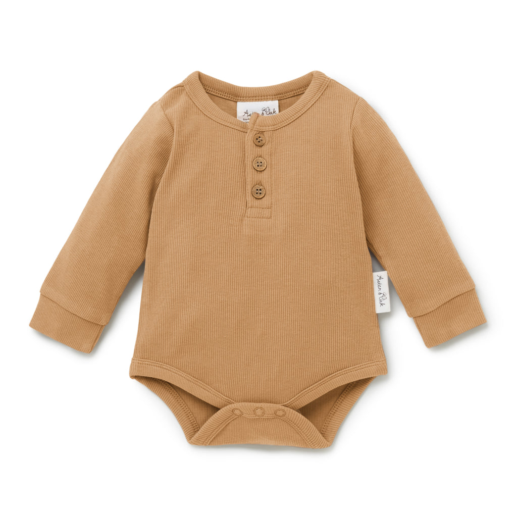 Aster & Oak Essential Ribbed Baby Bodysuit Taffy Rib Henley Onesie