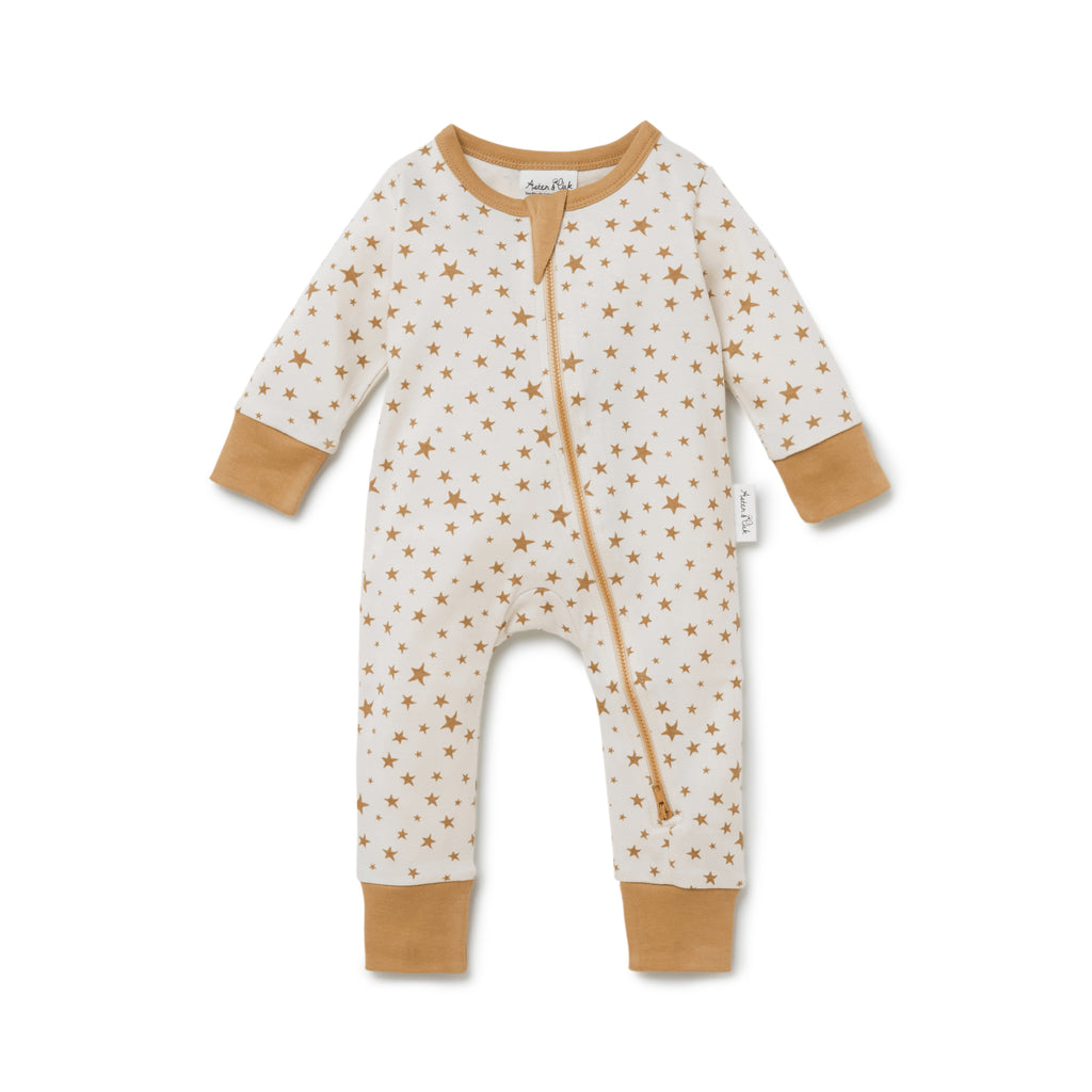 Aster & Oak Boho Baby Pjs Taffy Star Zip Romper