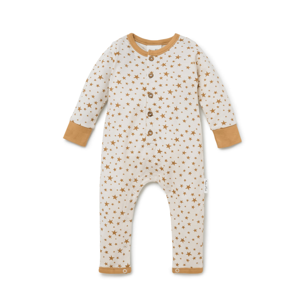 Aster & Oak Organic Unisex Baby Taffy Star Button Romper