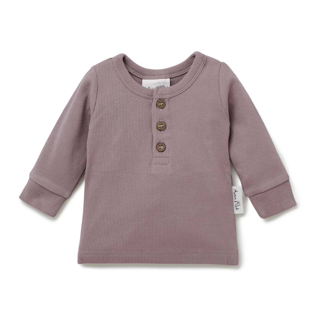Aster & Oak Girls Long Sleeve Elderberry Rib Henley Tee