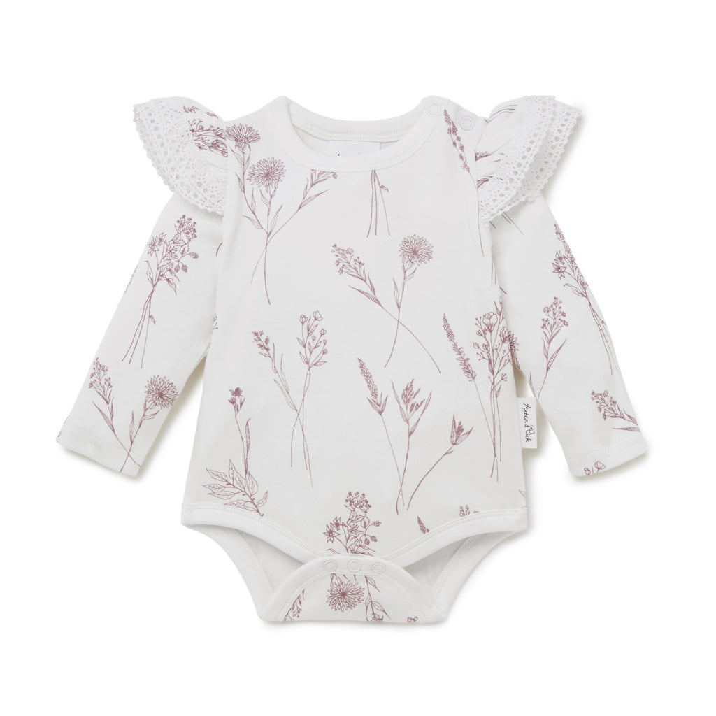 Aster & Oak Girls Berry Baby Wildflower AOP Onesie