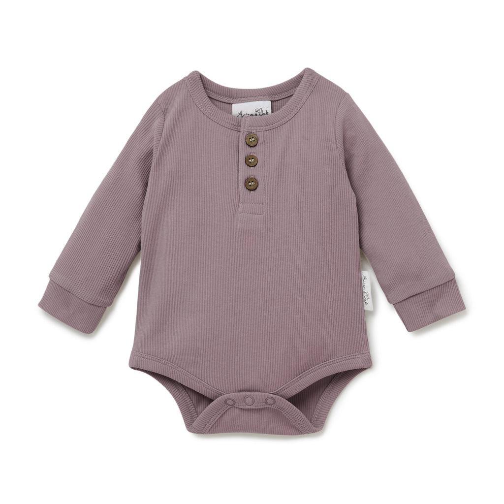 Aster & Oak Organic Cotton Ribbed Elderberry Henley Onesie