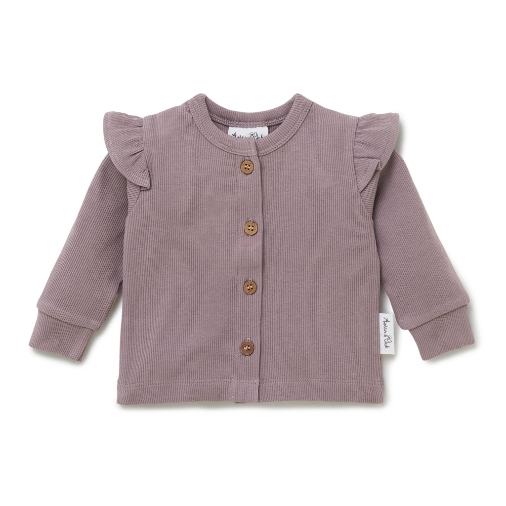 Aster & Oak Girls Ribbed Purple Elderberry Flutter Cardigan